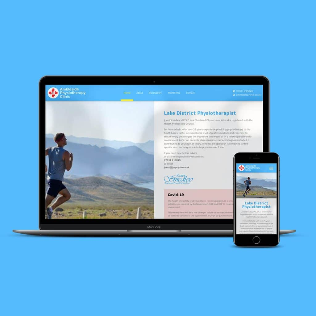 Ambleside physiotherapy clinic website by KCS